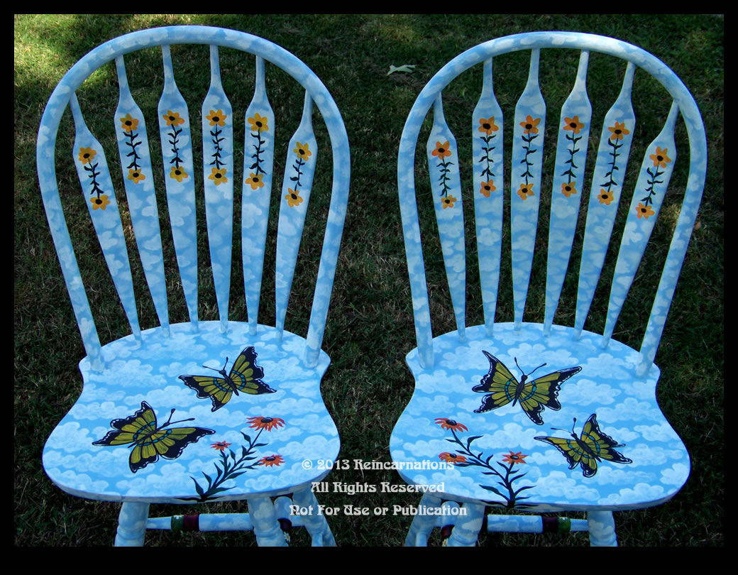 butterfly garden bar stools detail