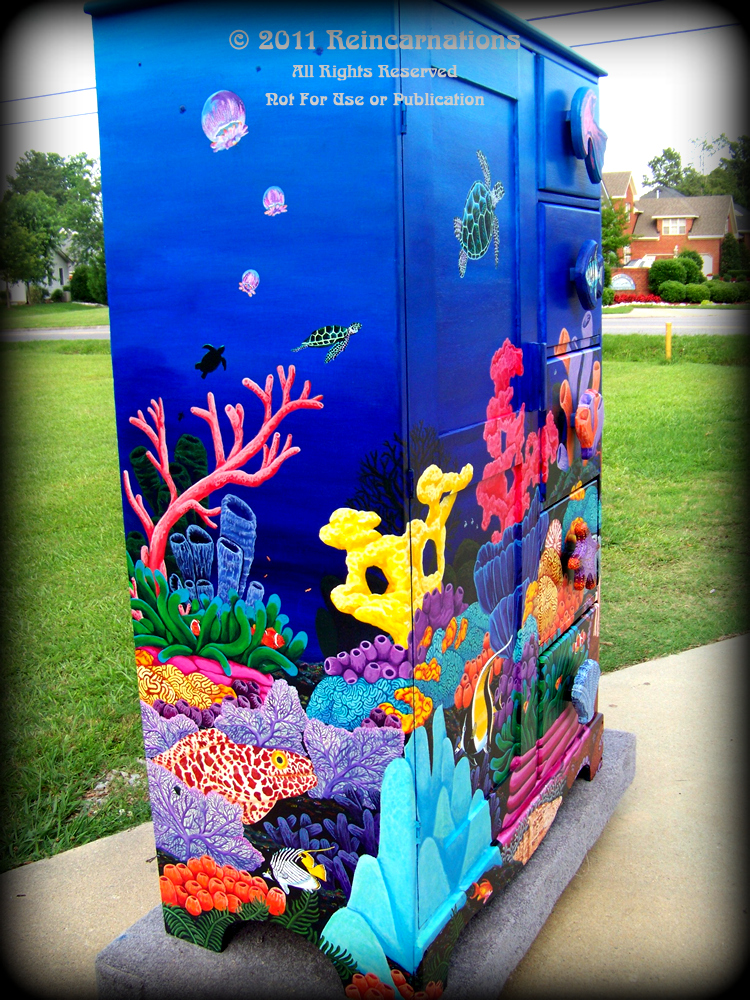 Tropical Reef Armoire Left Angle View - hand painted furniture