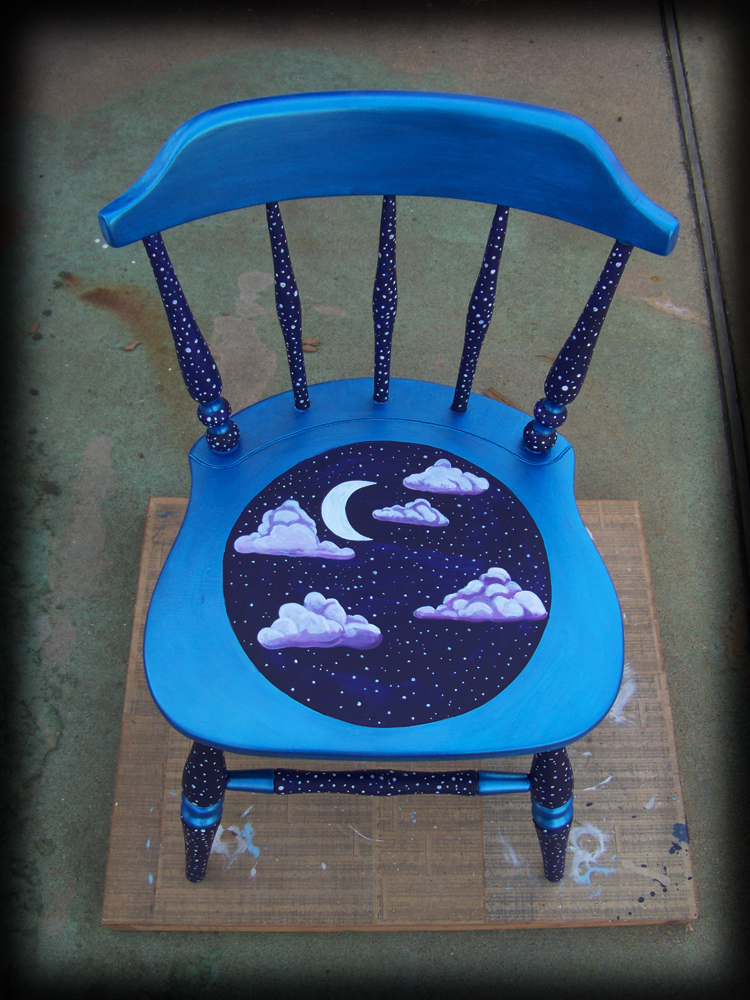 night sky chair top view - hand painted furniture