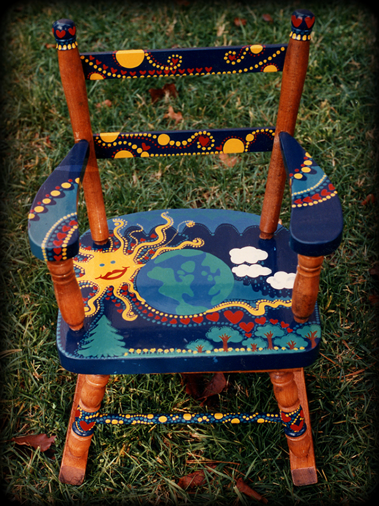 Big Blue Marble childs chair - hand painted furniture