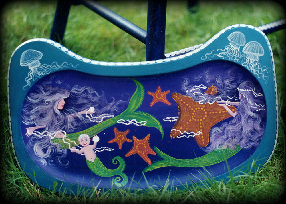 Mermaids high chair tray detail - hand painted furniture