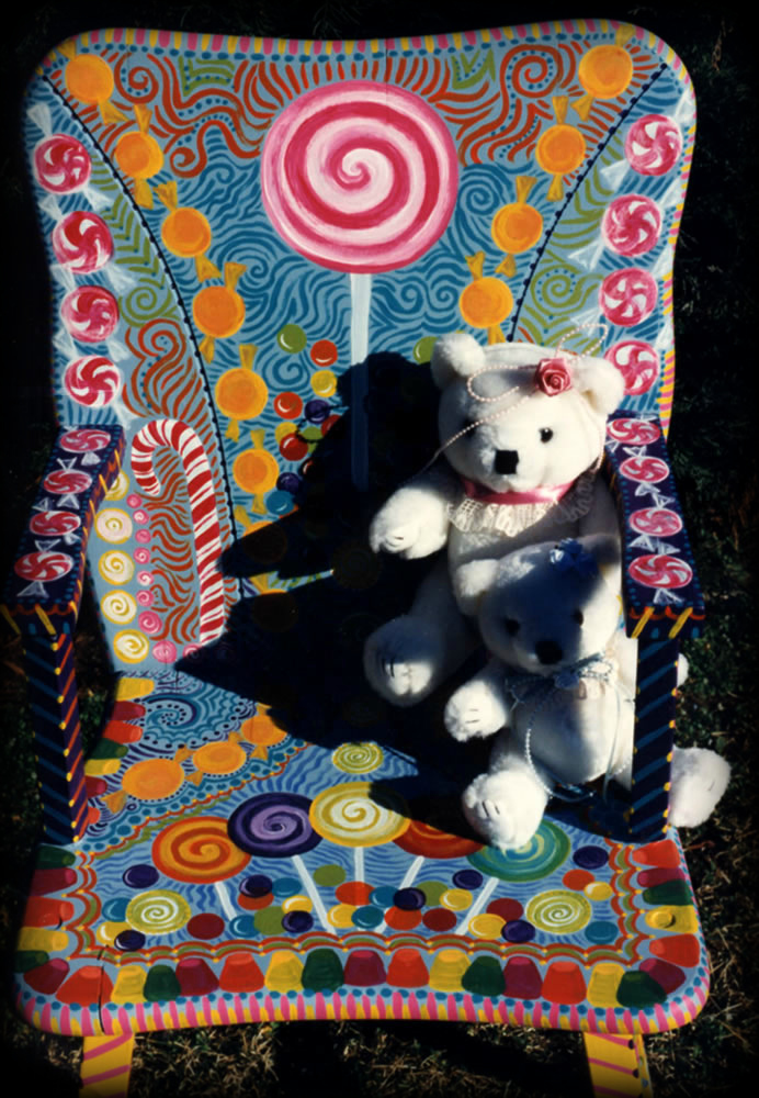 Candyland Chair seat detail - hand painted childrens furniture