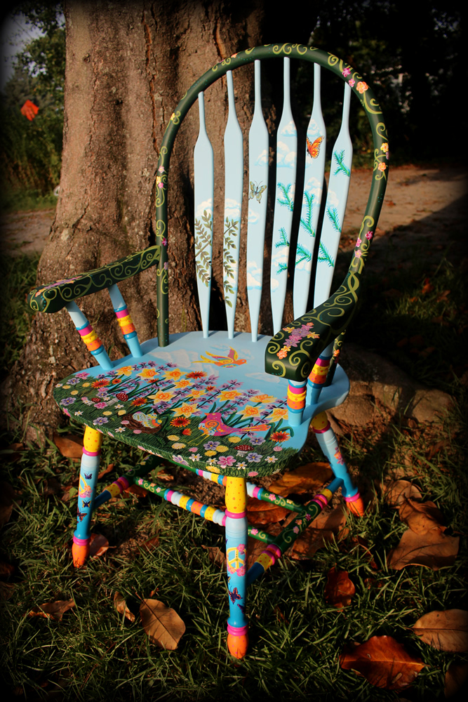 Wildflower Chair -Right Angle View - hand painted chairs