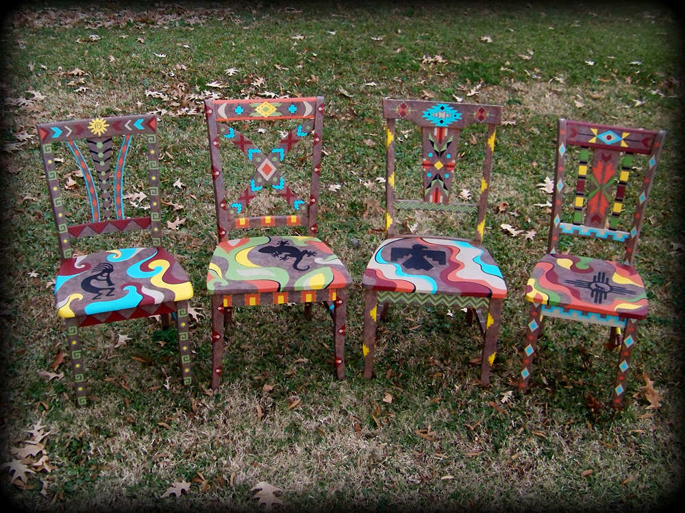 Southwestern Memories Chair Set - hand painted chairs