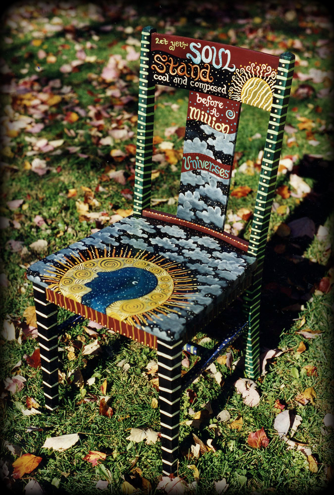 Soul Quote Vintage Chair Angle View - hand painted chairs