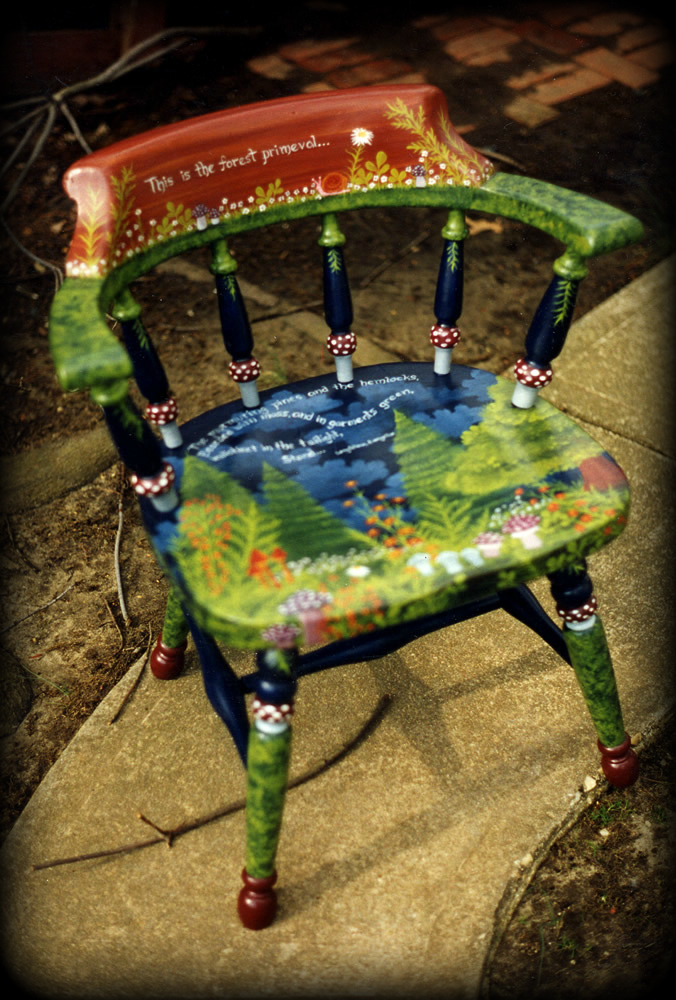 Forest Primeval Vintage Chair Full View - hand painted chairs