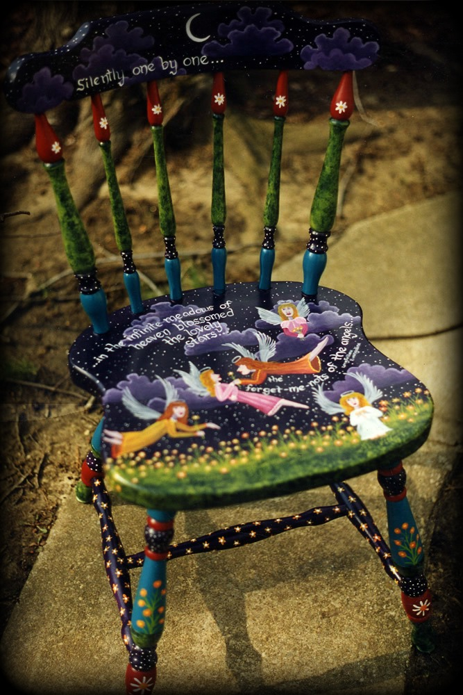 Forget Me Not Country Cottage Chair Full View - hand painted chairs