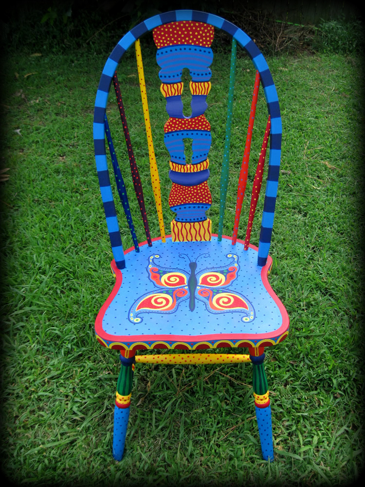 Whimsical Butterfly Windsor Chair Full View - hand painted chairs