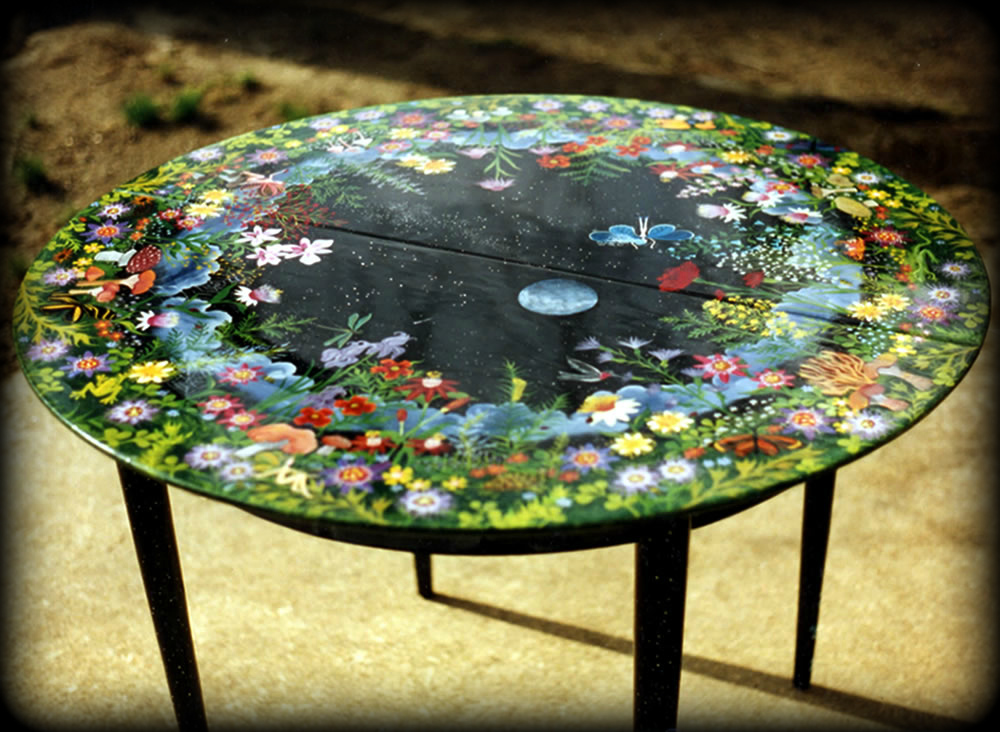 Faeries Vintage Dining Table Full View 1 - hand painted furnituer