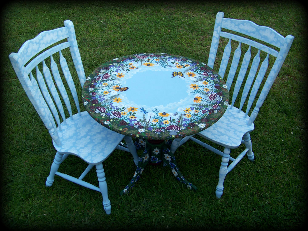 Woodland Meadow Dropleaf Table Set - hand painted furniture