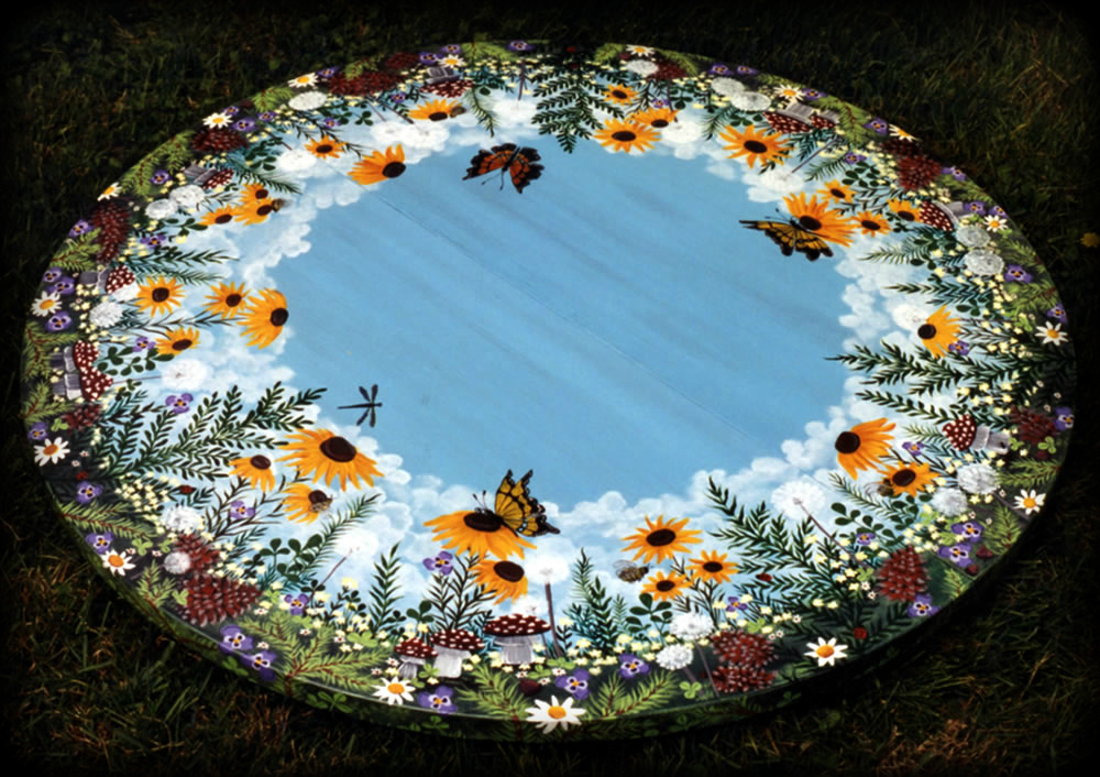 Woodland Meadow Pedestal Table Top View - hand painted furniture
