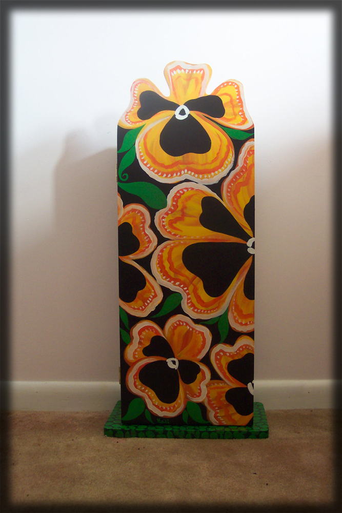 Pansies Childrens Cabinet - hand painted chilrens furniture