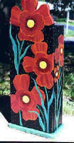 Poppies Children's Cabinet Full View - hand painted childrens furniture