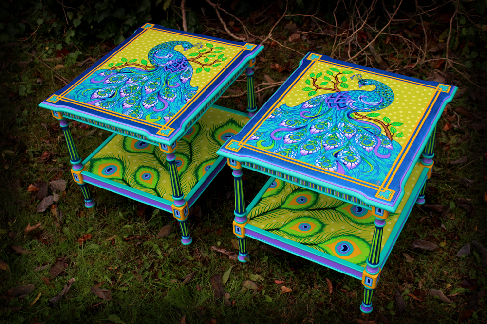 Hand Painted Peacock Endtable Set - Right Angle View