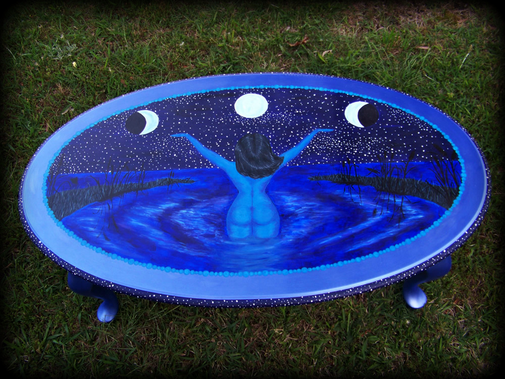 Draw the Moon Table top view - hand painted furniture