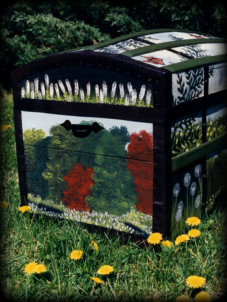 Woodland Meadow theme on vintage trunk